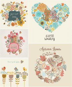 Vector gratis tarjetas florales dibujadas a mano