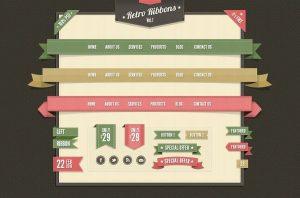 Elementos psd de diseño web vintage