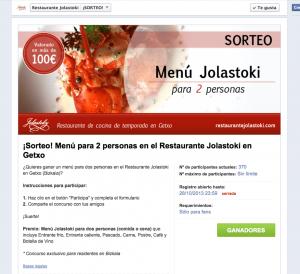 Diseño sorteo facebook restaurante jolastoki