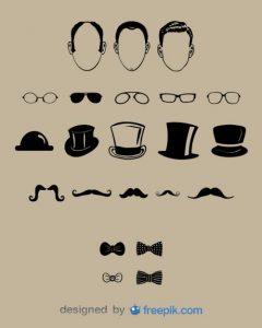 gentlemen bigotes gafas sombreros